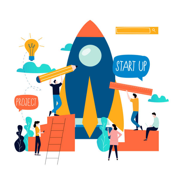 Business project start up process vector art illustration