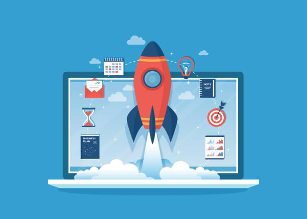 ilustrações, clipart, desenhos animados e ícones de startup de projetos de negócios, planejamento financeiro, idéia, estratégia, gestão, realização, sucesso. lançamento de foguete, plano de negócios, documentos, ampulheta, alvo, para fazer a lista, calendário na tela do portátil vetor - foguete espacial