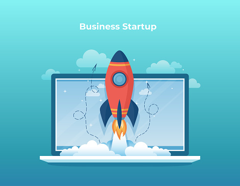 Business project startup, financial planning, idea, strategy, management, realization, success. Rocket launch from laptop screen. Vector