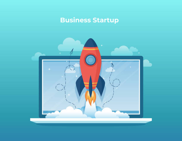 Business project startup, financial planning, idea, strategy, management, realization, success. Rocket launch from laptop screen. Vector Business project startup, financial planning, idea, strategy, management, realization, success. Rocket launch from laptop screen. Vector rocket stock illustrations