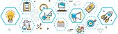 Business project startup process banner and scheme in hexagons element