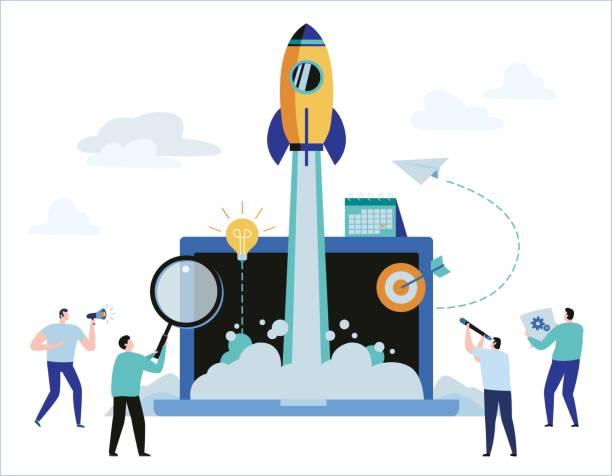 商務專案啟動過程的概念。想法啟動。向量插圖橫幅網頁圖形設計 - 新的事業 幅插畫檔、美工圖案、卡通及圖標