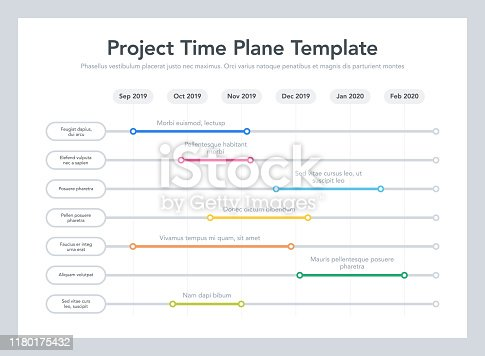 istock Business project time plan template with project tasks in time intervals 1180175432