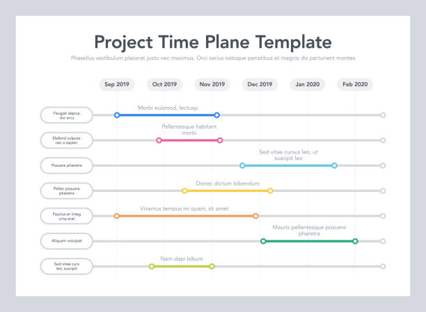 business project time plan template with project tasks in time intervals - timeline stock illustrations