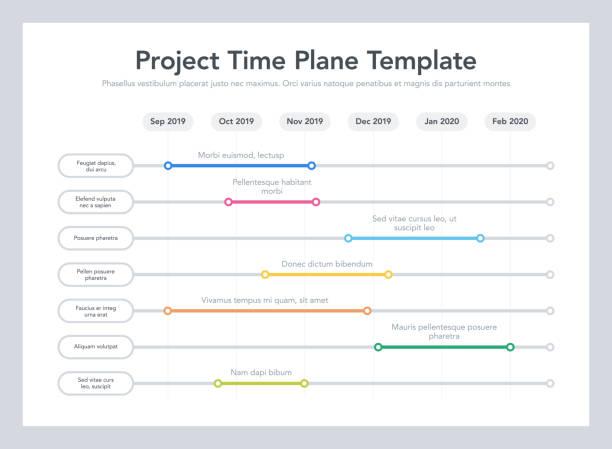 시간 간격으로 프로젝트 작업을 가진 비즈니스 프로젝트 시간 계획 템플릿 - timeline stock illustrations