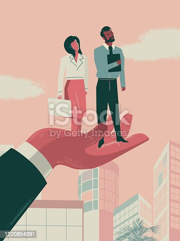 istock Business Promotion - business woman and Asian man being lifted by a large professional hand 1220854391