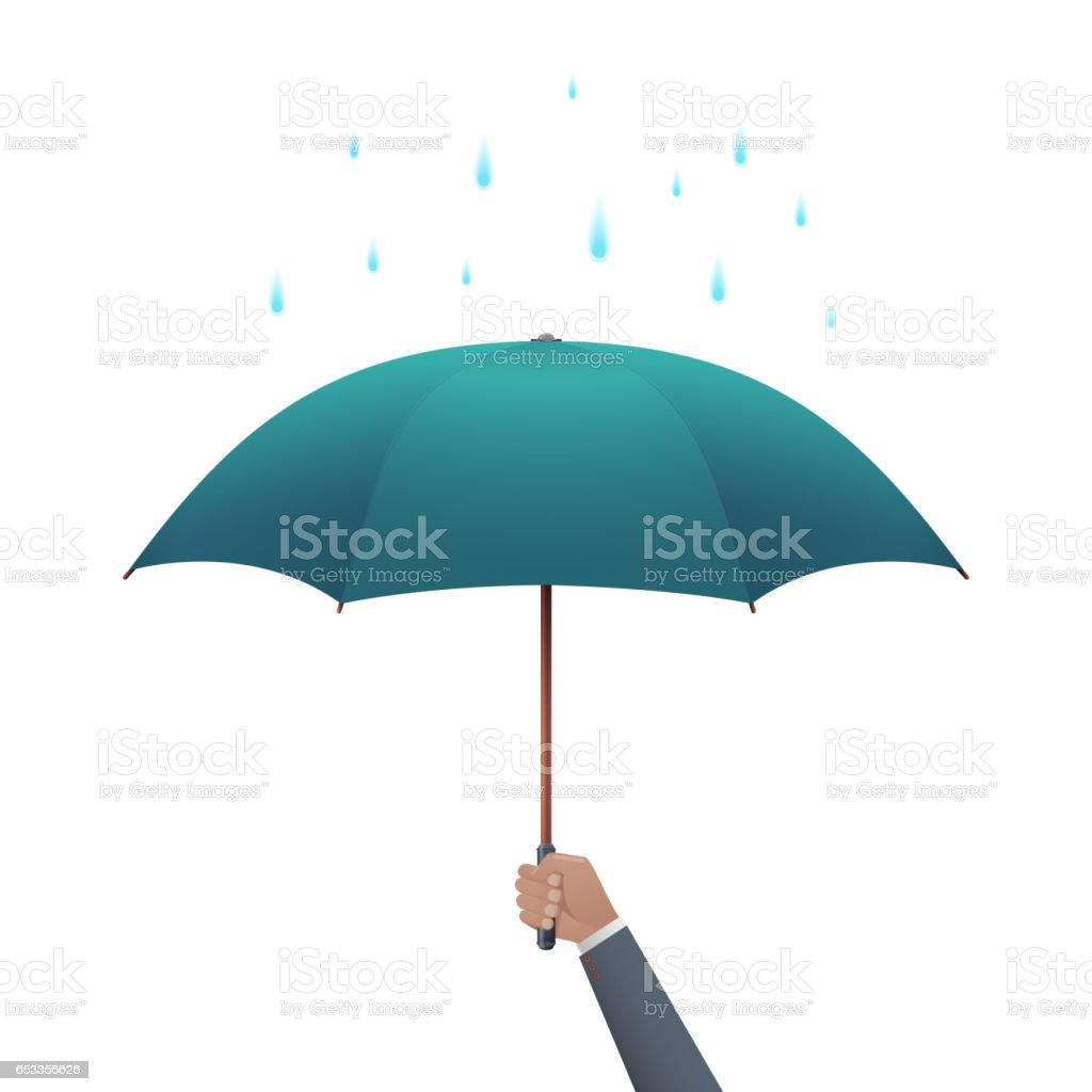 Business protection concept. Businessman hand holding umbrella under dripping rain vector illustration. vector art illustration