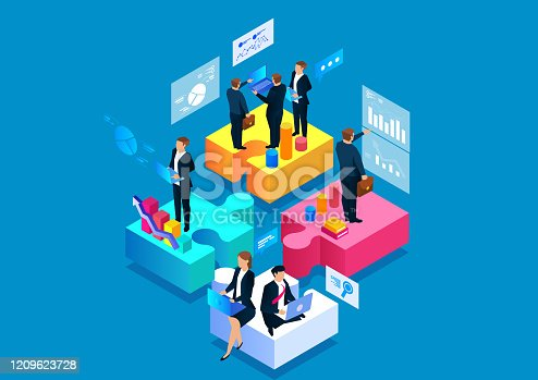 istock Business Puzzle and Team Work 1209623728