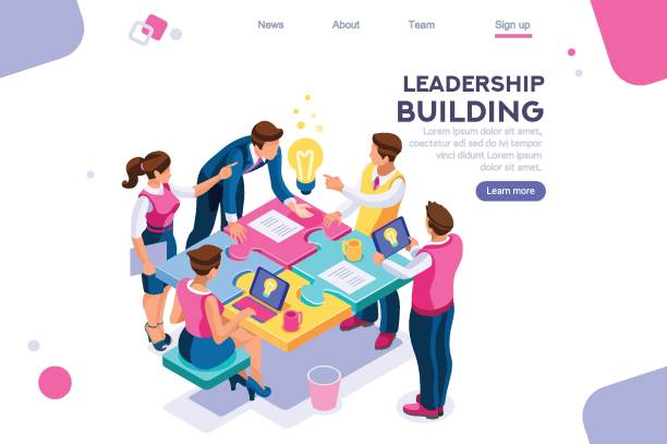 Business Puzzle Construction Leadership unity. Leader and business puzzle construction. Process support concept, can use for web banner, infographics, hero images. Flat isometric vector illustration isolated on white background colleague stock illustrations