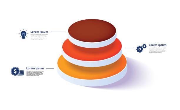 Business Pyramidendiagramm-Infografiken mit 3 Schritten. Pyramidenstufen-Diagrammelemente. Unternehmens-Hiararchie-Ebenen. – Vektorgrafik
