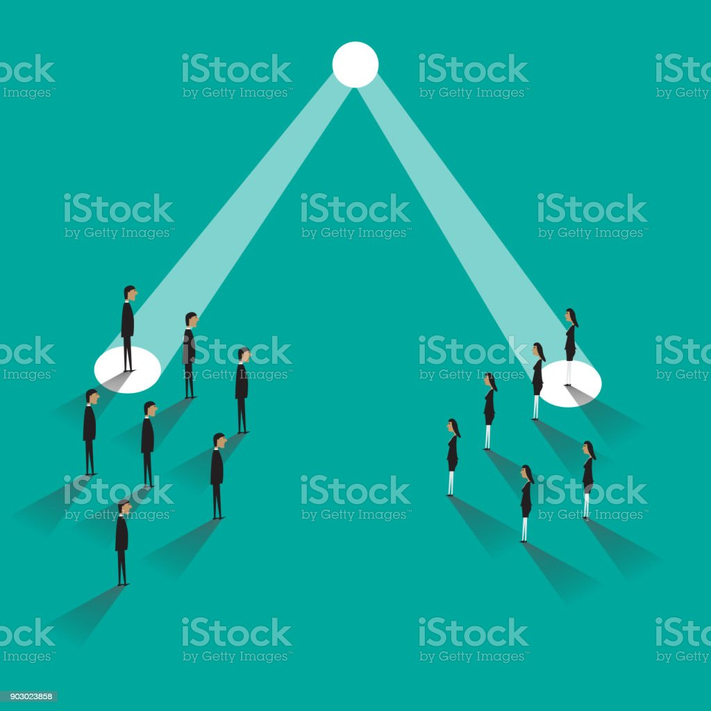Business recruitment or hiring. Businessman and businesswoman in spotlight. Searchlight as symbol of unique skills. Vector illustration vector art illustration