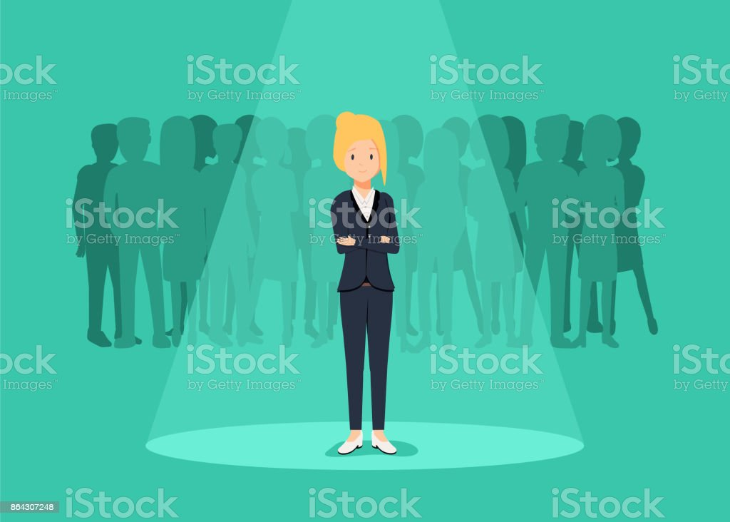 Business recruitment or hiring vector concept. Looking for talent. Businesswoman standing in spotlight or searchligh
