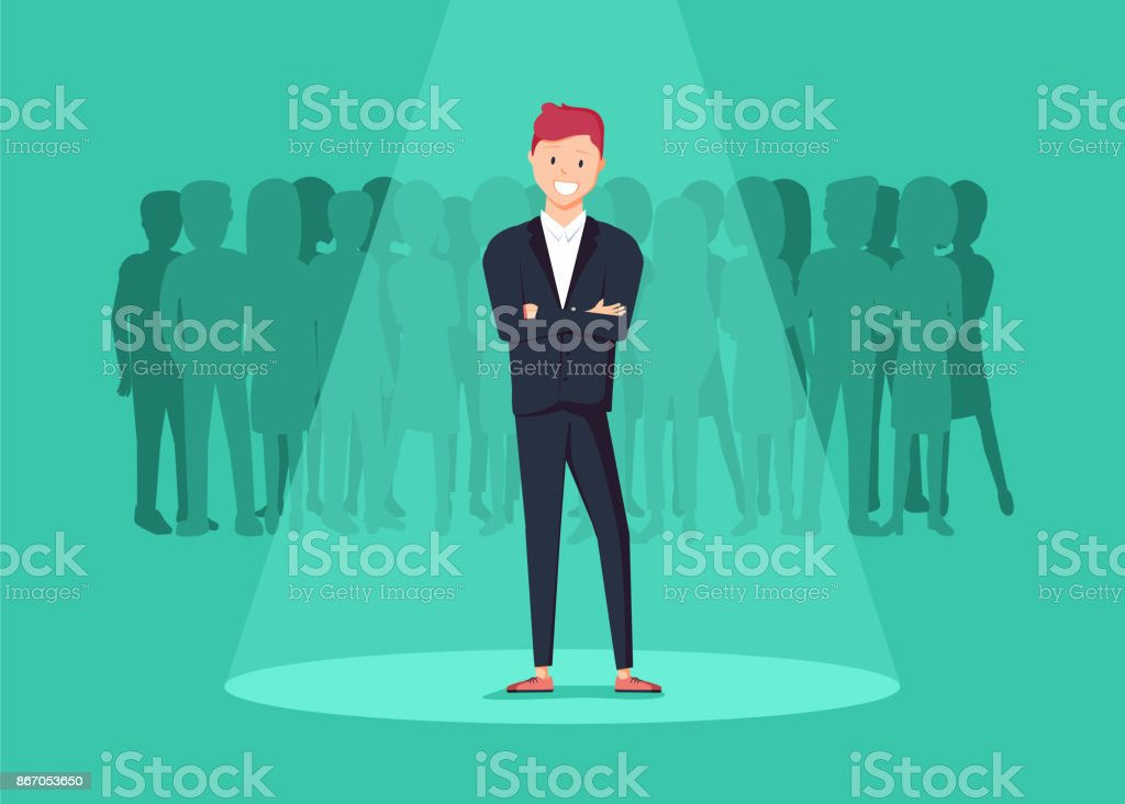 Business recruitment or hiring vector concept. Looking for talent. Businessman standing in spotlight or searchligh vector art illustration