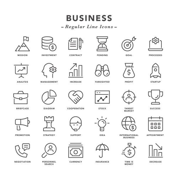 ilustraciones, imágenes clip art, dibujos animados e iconos de stock de negocios-iconos de línea regulares - misión