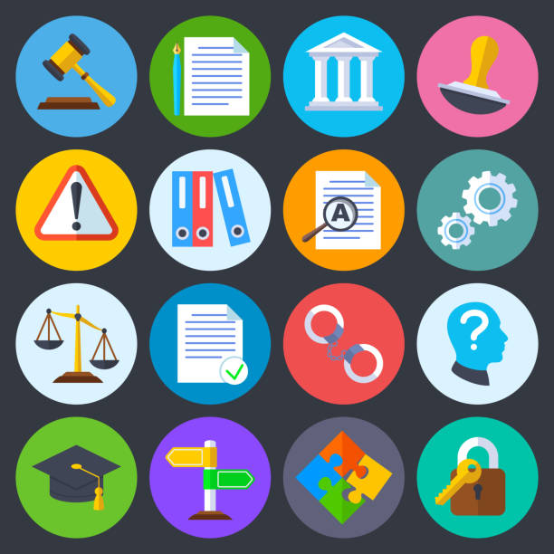 Business regulation, legal compliance and copyright vector flat icons Business regulation, legal compliance and copyright vector flat icons. Law legal regulation, compliance and agreement contract illustration government stock illustrations