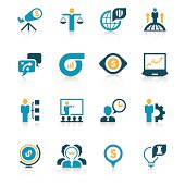 16 business related icons in blue and yellow tones