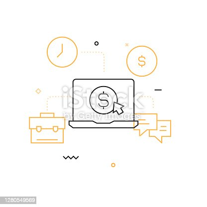 Business Related Modern Line Style Vector Illustration