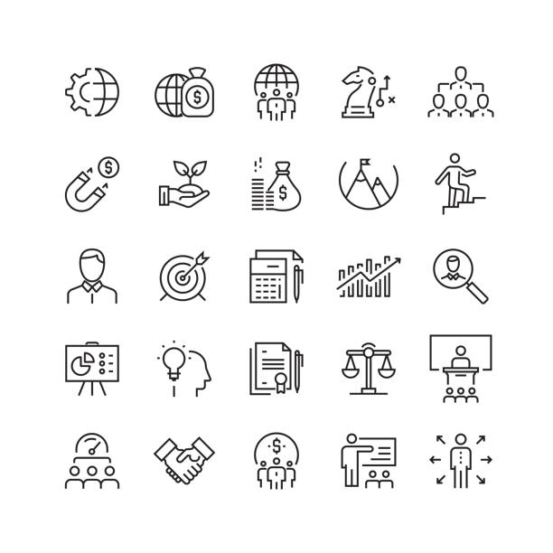 illustrazioni stock, clip art, cartoni animati e icone di tendenza di business related vector line icons - opportunità