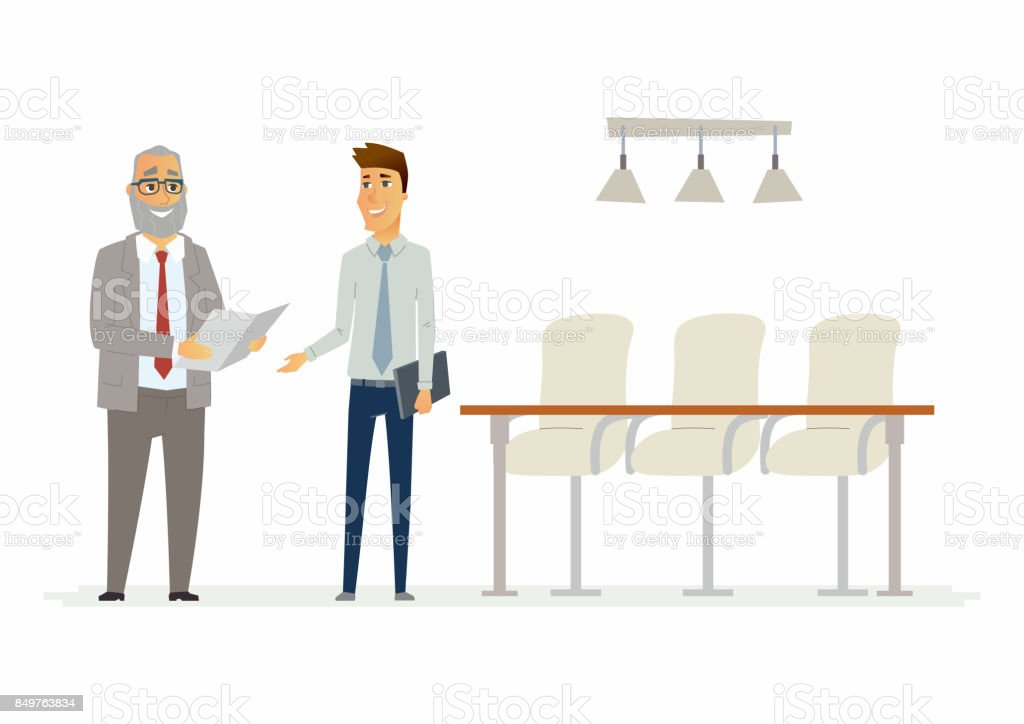 Business relationship - modern cartoon people characters illustration vector art illustration