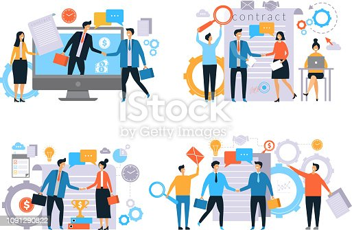 Business relationships. Investors handshake finance contract work business transactions managers male female working vector flat. Illustration of agreement and partnership success, handshake deal