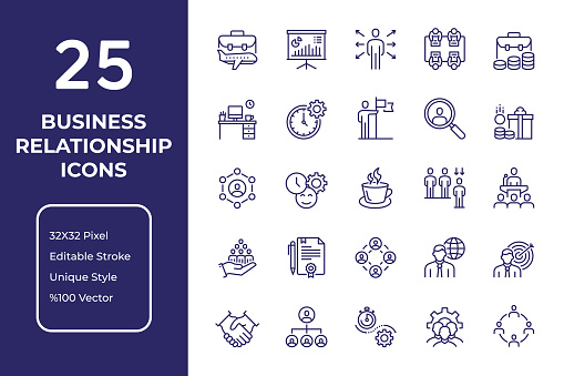 Business Relationships Line Icon Design