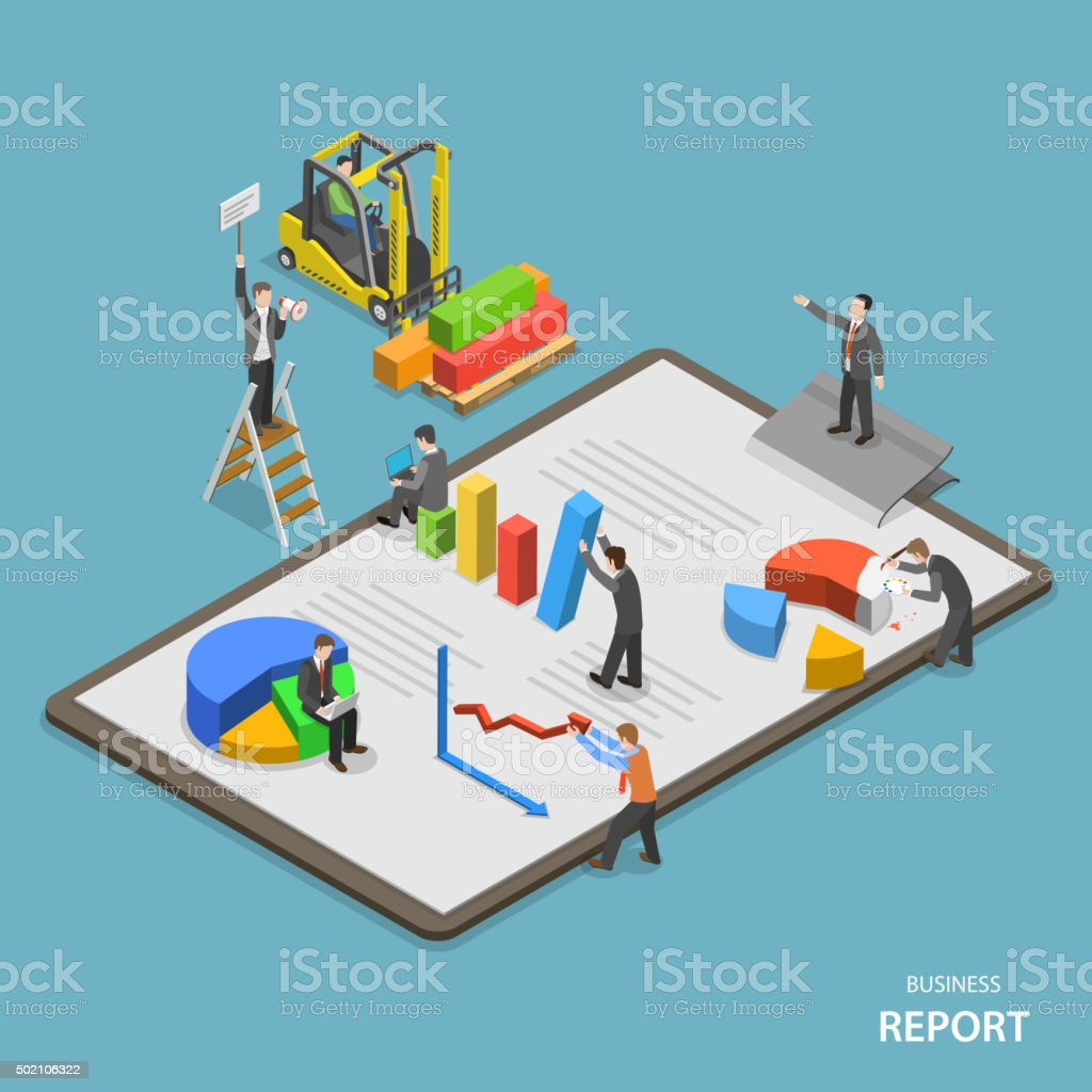 Business report isometric flat vector concept. vector art illustration