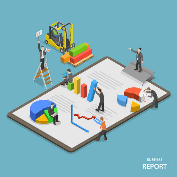 Business report isometric flat vector concept. Business report isometric flat vector concept. Team of businessmen are constructing business report. banking drawings stock illustrations