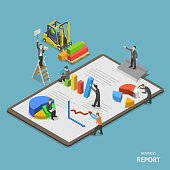 Business report isometric flat vector concept.
