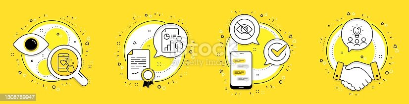 istock Business report, Not looking and Heart rating icons set. Business idea sign. Vector 1308789947