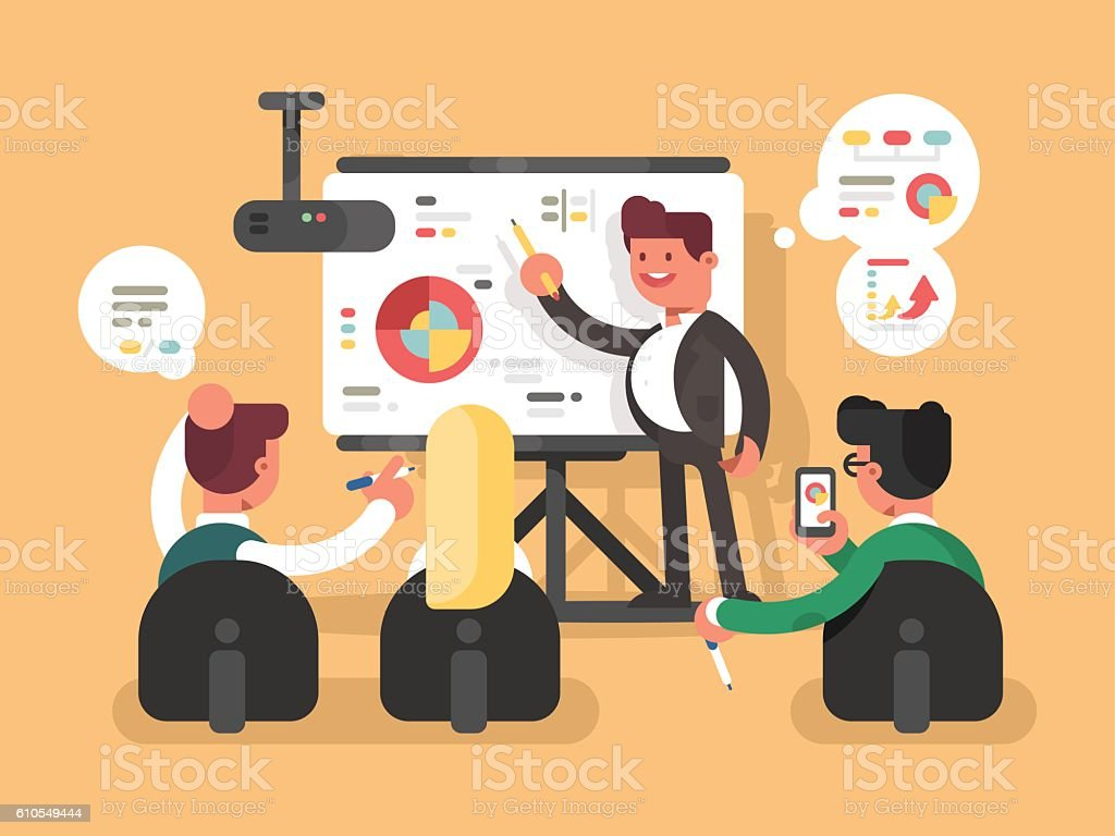 Business report presentation vector art illustration