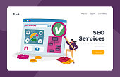 Business Research and Analysis Landing Page Template. Seo, Search Engine Optimization. Tiny Female Character with Huge Magnifier at Huge Pc with Charts, Financial Strategy. Cartoon Vector Illustration