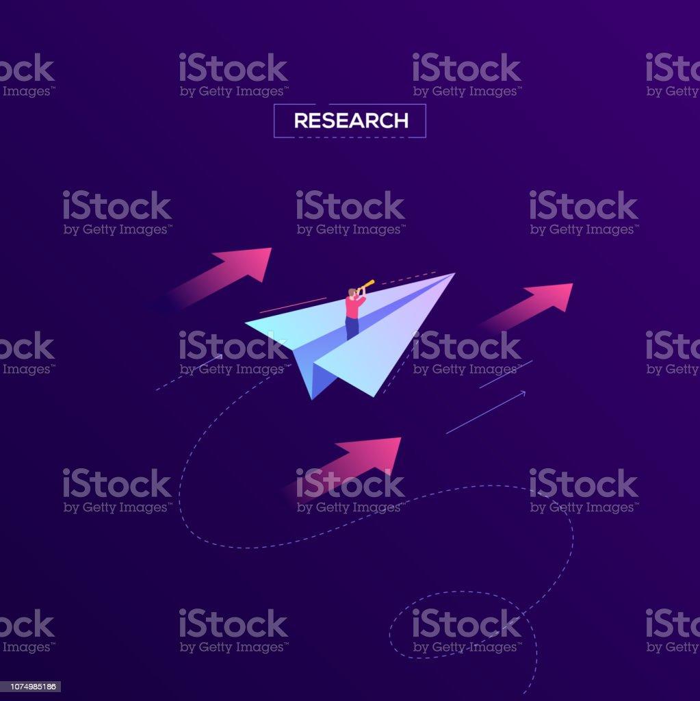 Recherche - bannière web modern vector isométrique - Illustration vectorielle