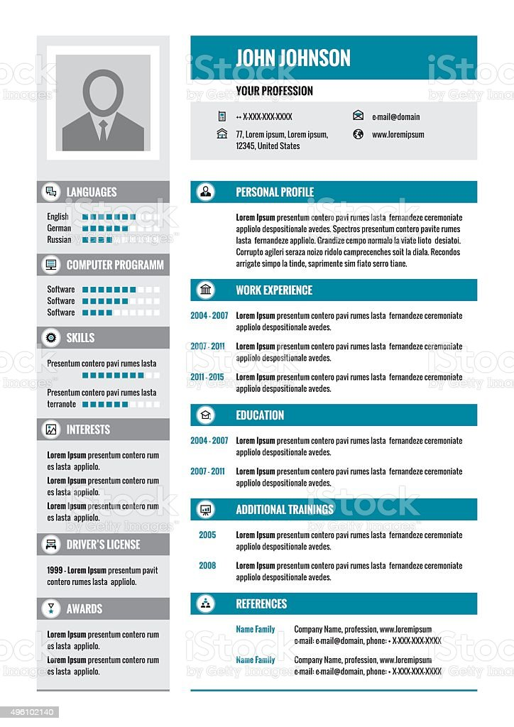 business resume cv vector layout in a4 format stock vector