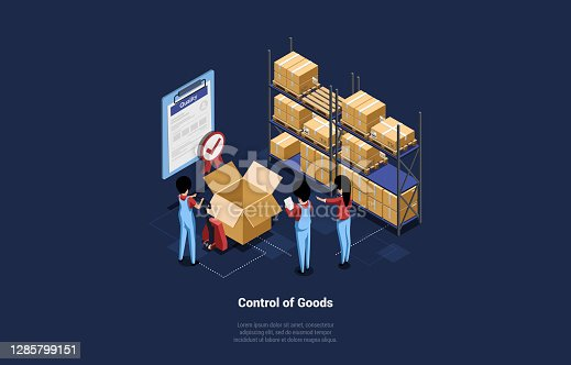 Business Retail Conceptual Vector Illustration In Cartoon 3D Isometric Style On Dark Background. Composition Of People Controlling Quality Of Goods In Cardboard Boxes. Red Verification Sign On List.