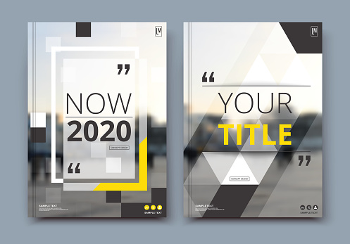 Business review brochure cover design in A4. Techno info banner frame, ad flyer text font or title sheet model set. Modern vector front page art with urban city street texture. Yellow line figure icon