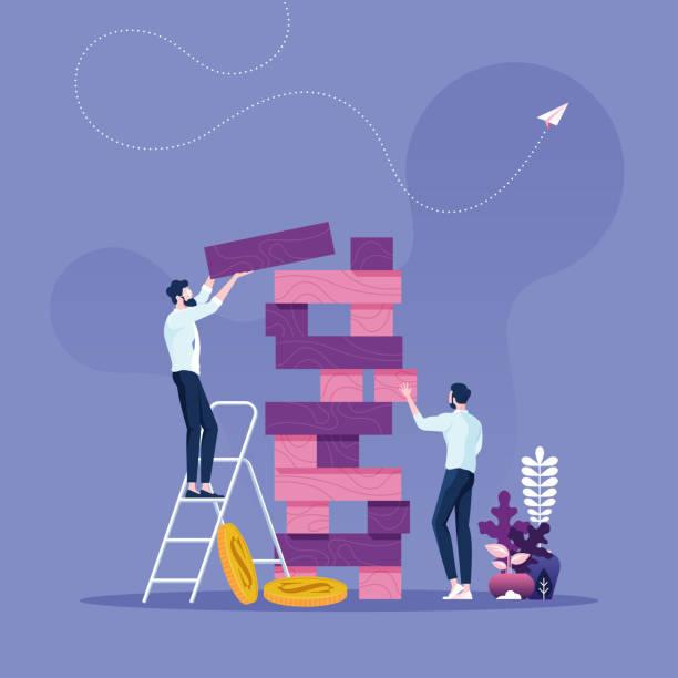 geschäftsrisikokonzept-zwei geschäftsleute spielen das tower-spiel - abenteuer stock-grafiken, -clipart, -cartoons und -symbole