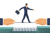 Business risk. Businessman pulled a rope along which person goes overcoming the hindrance. Walking on tightrope. Vector flat design. Isolated on white background. Success in business concept.