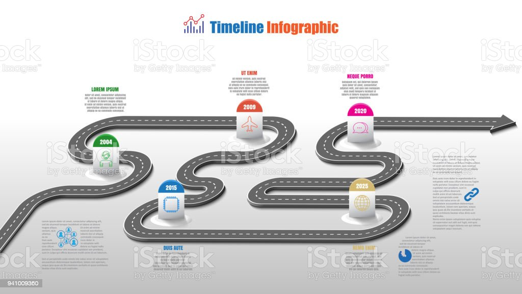 business road map timeline infographic template with pointers vector illustration royalty free business road