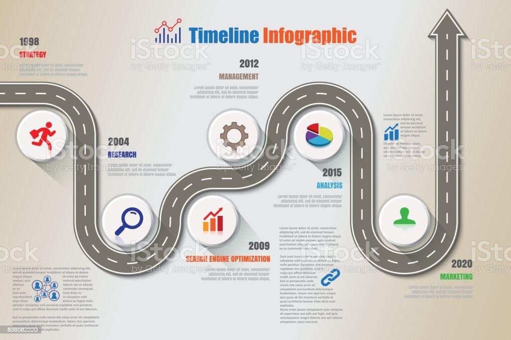 Negocio de ruta timeline infografía, ilustración vectorial - ilustración de arte vectorial
