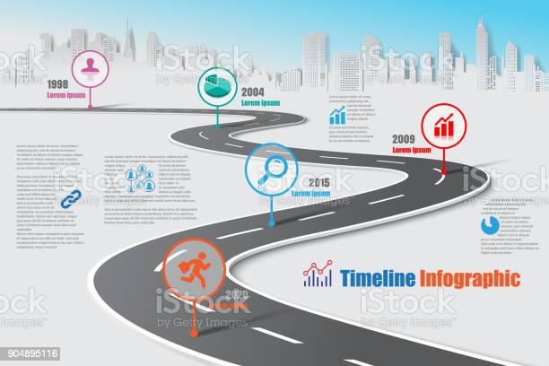 Business Road Map Timeline Infographic Vector Illustration - Immagini vettoriali stock e altre immagini di Affari