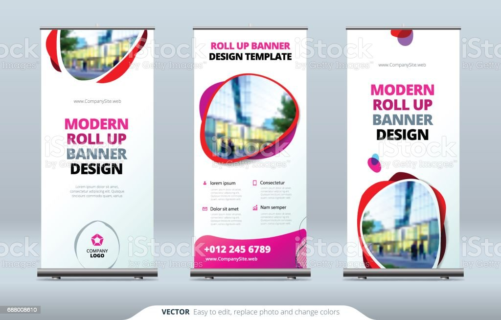 business roll up banner stand presentation concept abstract modern, Presentation templates
