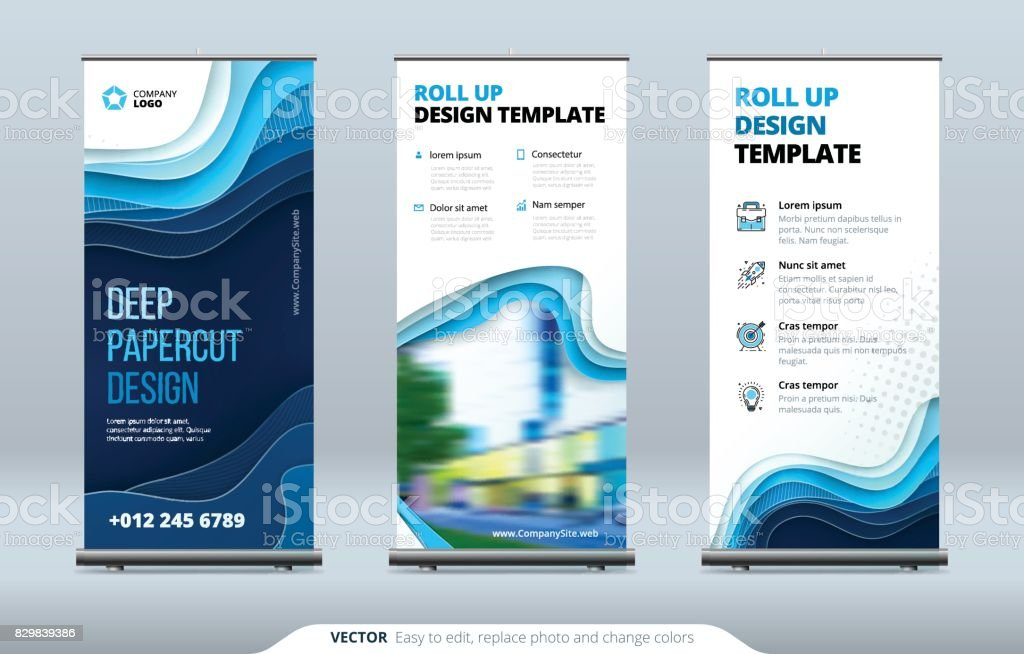 Business Roll Up Banner stand. Presentation concept. Abstract modern roll up background. Vertical template billboard, banner stand or flag design layout. Poster for conference, forum, shop vector art illustration