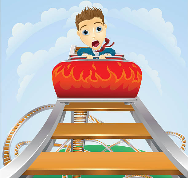 business roller coaster ride concept - roller coaster stock illustrations