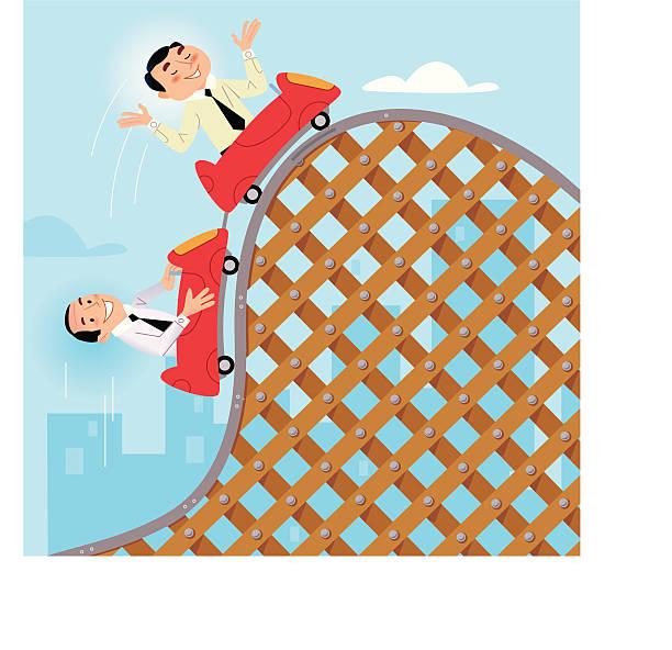 ilustraciones, imágenes clip art, dibujos animados e iconos de stock de montaña rusa de negocios - roller coaster