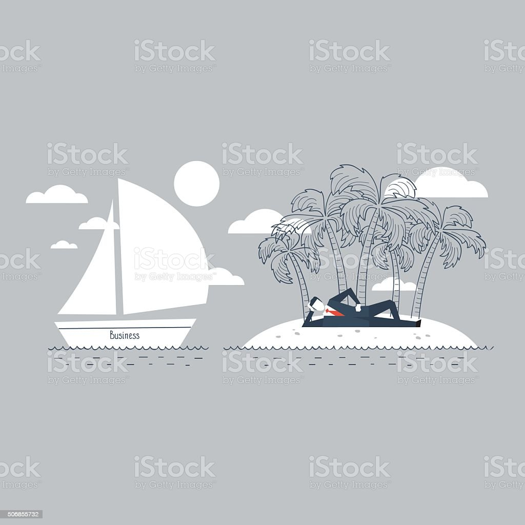 Business safety island, or a lucrative distant dream job vector art illustration