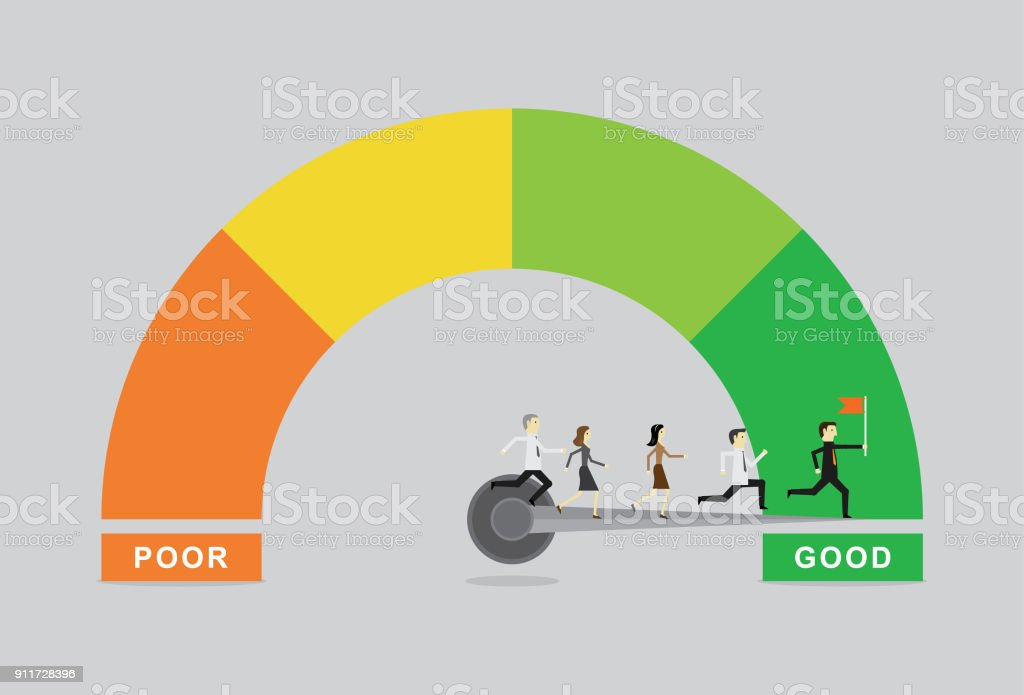 Business satisfaction meter vector art illustration