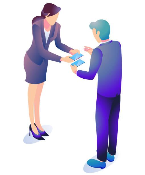 名刺交換の男女のビジネスシーン。 - アイソメトリック点のイラスト素材/クリップアート素材/マンガ素材/アイコン素材