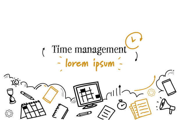 business scheduling time management concept sketch doodle horizontal isolated copy space business scheduling time management concept sketch doodle horizontal isolated copy space vector illustration busy stock illustrations