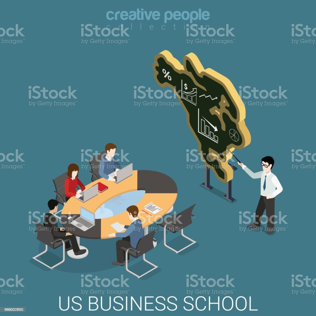 Us Business School Flat 3d Isometry Isometric Education Course