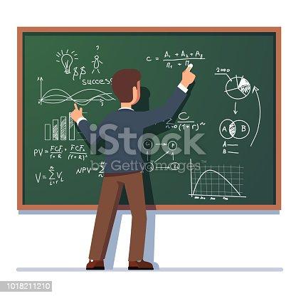 istock Business school professor teaching explaining and writing formula on class chalkboard. Flat vector clipart illustration. 1018211210